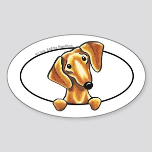 Smooth Red Dachshund Peeking Bumper Sticker (Oval)