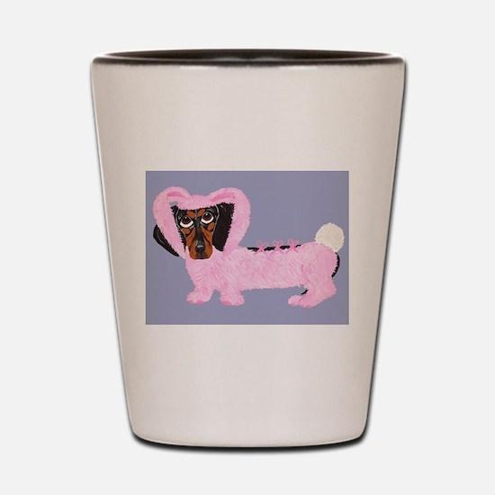 Dachshund In Fuzzy Pink Bunny Shot Glass