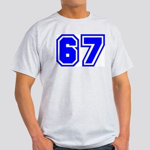 Varsity Uniform Number 67 (Blue) Ash Grey T-Shirt