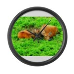 Nuzzling Cows Large Wall Clock