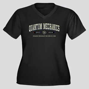 QUANTUM MECHANICS Women's Plus Size V-Neck Dark T-