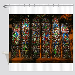Stained Glass Window Christ Shower Curtain
