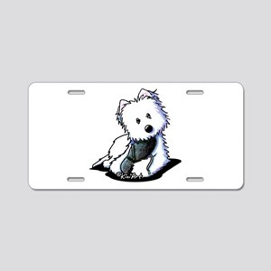 Muggles Westie with Shoe Aluminum License Plate