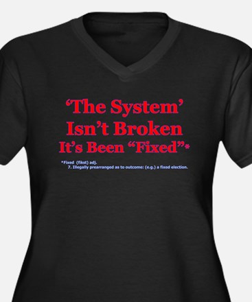 The System is Fixed Women's Plus Size V-Neck Dark