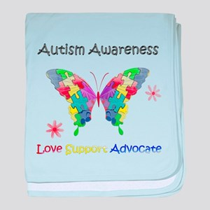 Autism Awareness Butterfly baby blanket
