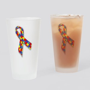 Autistic Awareness Ribbon Drinking Glass
