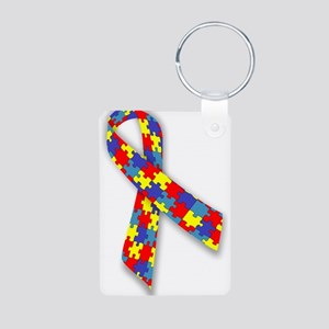 Autistic Awareness Ribbon Aluminum Photo Keychain