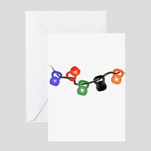 Kettle Bell Christmas Lights Greeting Card