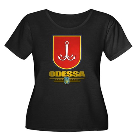 """""""Odessa"""" Women's Plus Size Scoop Neck Dark T-Shirt"""