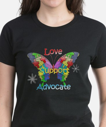 Autism Awareness Butterfly Women's Dark T-Shirt