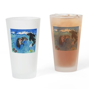 Dolphins Swimming Drinking Glass