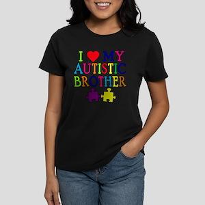 I Love My Autistic Brother Women's Dark T-Shirt