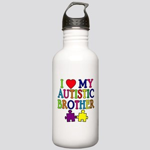 I Love My Autistic Brother Stainless Water Bottle