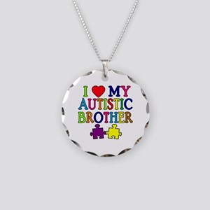 I Love My Autistic Brother Necklace Circle Charm