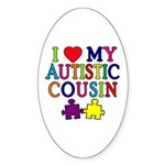 I Love My Autistic Cousin Sticker (Oval)