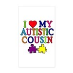 I Love My Autistic Cousin Sticker (Rectangle)