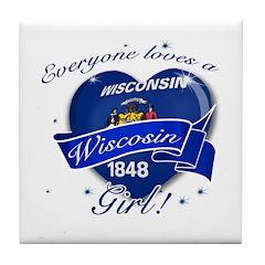 Wisconsin Girl Tile Coaster