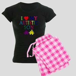 I Love My Autistic Son Tshirts Women's Dark Pajama