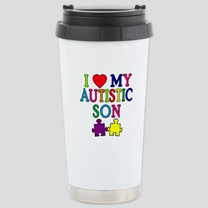 I Love My Autistic Son Tshirts Stainless Steel Tra
