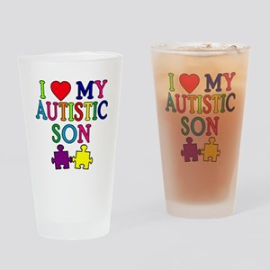 I Love My Autistic Son Tshirts Drinking Glass