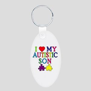 I Love My Autistic Son Tshirts Aluminum Oval Keych