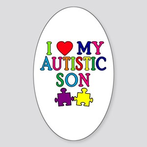 I Love My Autistic Son Tshirts Sticker (Oval)