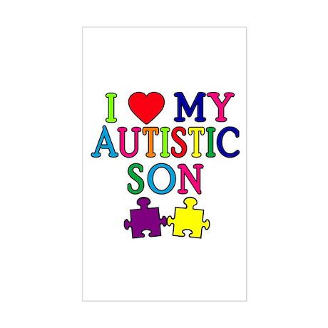 I Love My Autistic Son Tshirts Sticker (Rectangle)