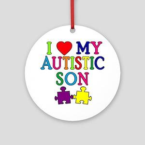 I Love My Autistic Son Tshirts Ornament (Round)