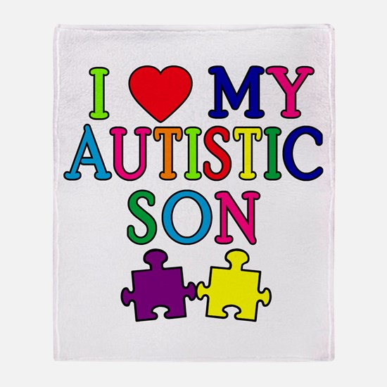 I Love My Autistic Son Tshirts Throw Blanket