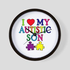 I Love My Autistic Son Tshirts Wall Clock