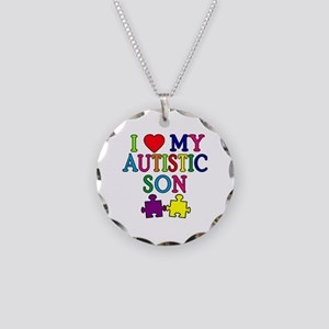 I Love My Autistic Son Tshirts Necklace Circle Cha