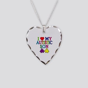 I Love My Autistic Son Tshirts Necklace Heart Char