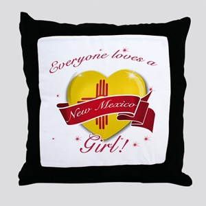 New Mexico Girl Throw Pillow