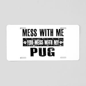 Pug Dog design Aluminum License Plate