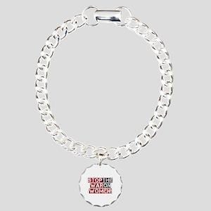 Stop The War on Women Charm Bracelet, One Charm