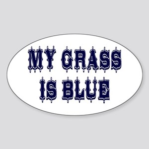 Vintage My Grass Is Blue Sticker (Oval)