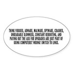 Think viruses...Linux - Sticker (Oval 10 pk)
