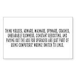 Think viruses...Linux - Sticker (Rectangle 10 pk)
