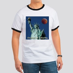 Statue of Liberty Awesome Red Moon Ringer T