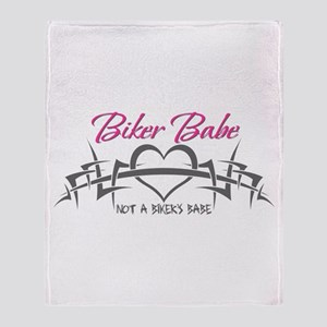 Biker Babe (Not a biker's babe) Throw Blanket