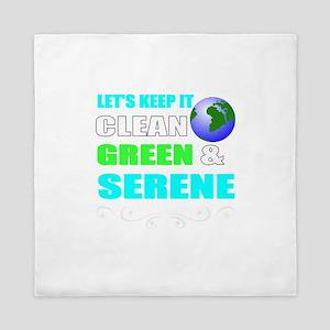 Clean, green, and serene eart Queen Duvet
