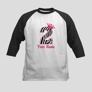2nd Birthday Zebra Print Kids Baseball Jersey