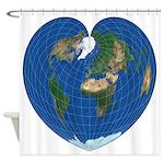World Map Heart: Shower Curtain