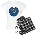 World Map Heart: Women's Light Pajamas