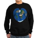 World Map Heart: Sweatshirt (dark)