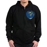 World Map Heart: Zip Hoodie (dark)
