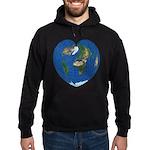 World Map Heart: Hoodie (dark)
