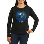 World Map Heart: Women's Long Sleeve Dark T-Shirt