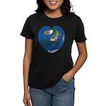 World Map Heart: Women's Dark T-Shirt