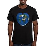 World Map Heart: Men's Fitted T-Shirt (dark)